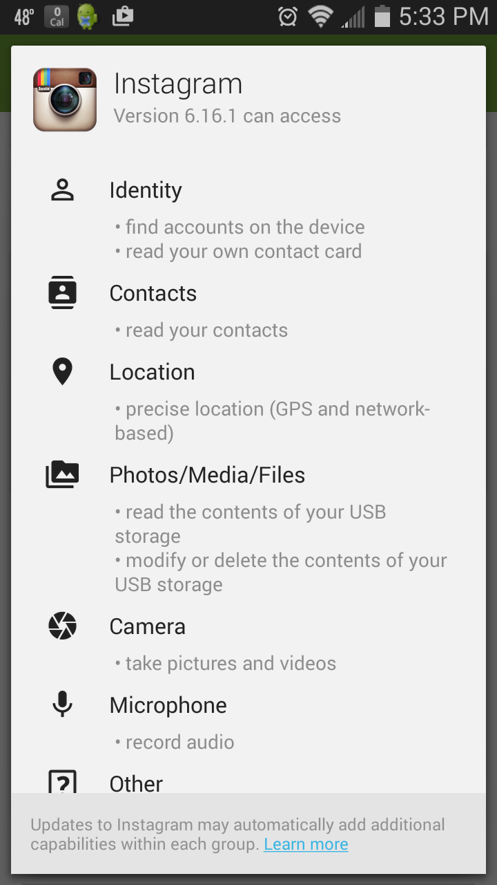 Instagram Mobile App Permissions