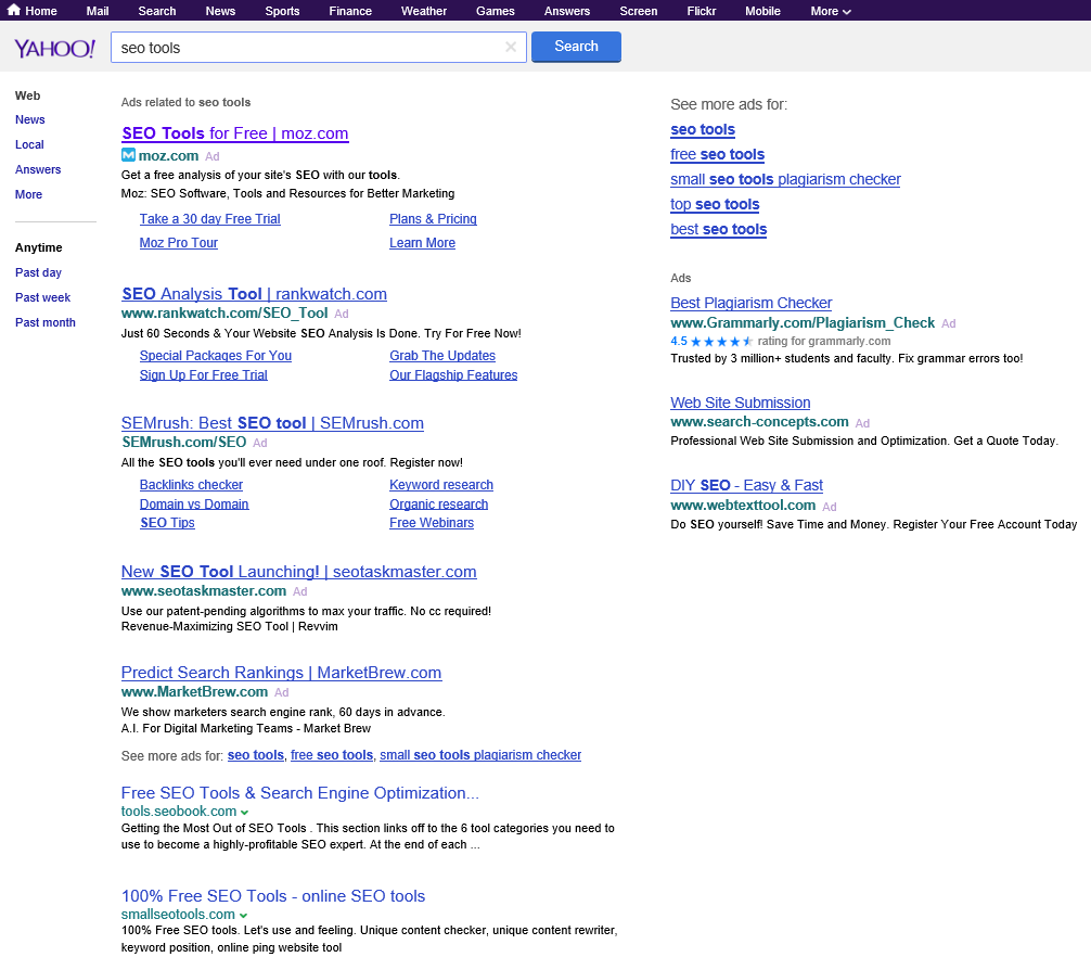 Yahoo! Search Testing Google Search Results