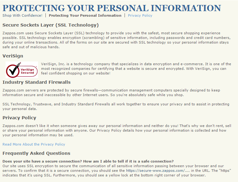 Zappos Privacy Policy Page